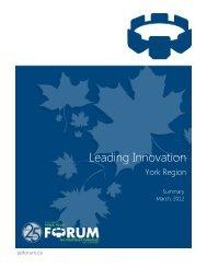 Leading Innovation - The York Region - Public Policy Forum