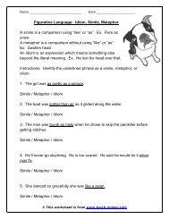 Figurative Language: Idiom, Simile, Metaphor - Teach-nology