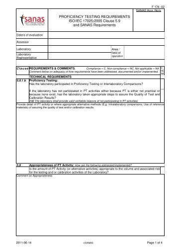 PROFICIENCY TESTING REQUIREMENTS ISO/IEC 17025 ... - Sanas