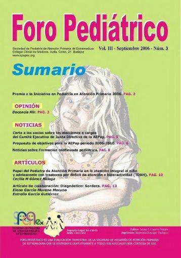 Vol III Septiembre 2006 Nº 3 - Sociedad de Pediatría de Atención ...