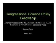 FASS Congressional Science Fellow Report - Federation of Animal ...