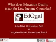 What does Education Quality mean for Low Income ... - EdQual