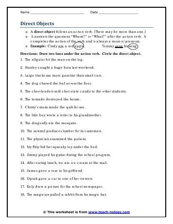 Nouns Used as Direct Objects | Noun Worksheets