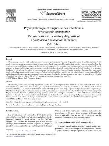 Physiopathologie et diagnostic des infections a` Mycoplasma ...