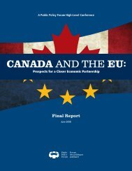 Canada and the EU: Prospects for a Closer Economic Partnership ...