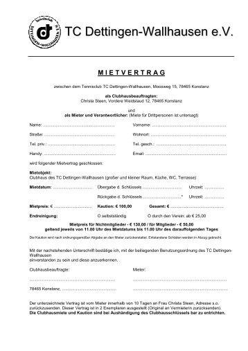Mietvertrag - TC Dettingen-Wallhausen