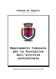 Regolamento disciplina attività contrattuale - Comune di Ragoli