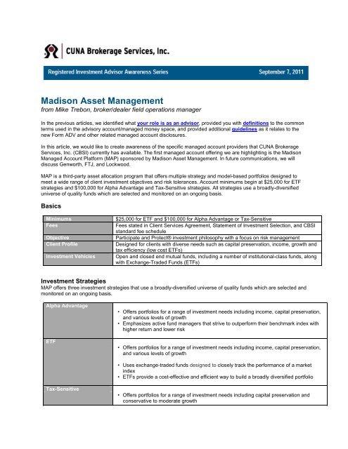 Registered Investment Advisor Ria Awareness Cuna Mutual