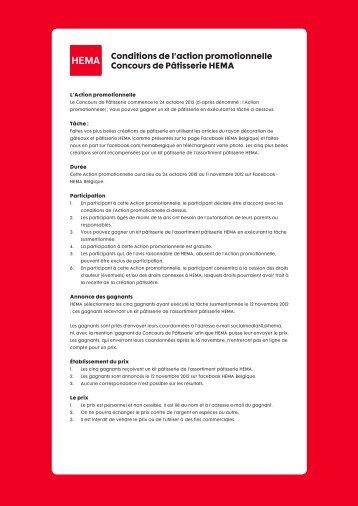 Conditions de l'action promotionnelle Concours de Pâtisserie HEMA