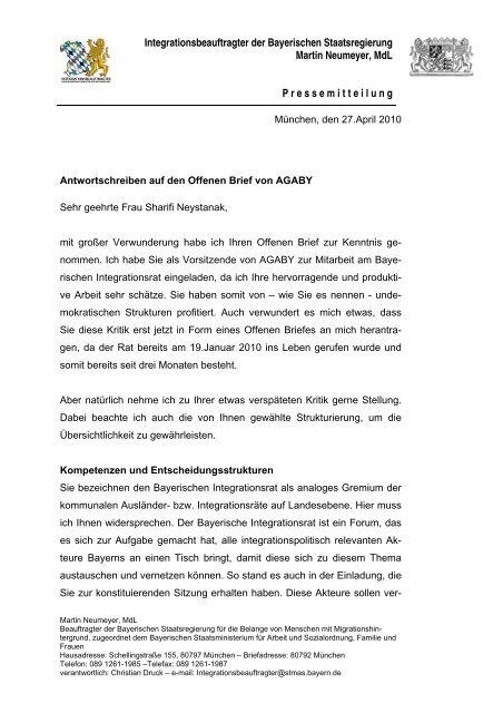 Antwort Auf Den Offenen Brief Von Agaby Zum Bayerischen