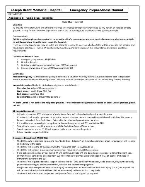 Joseph Brant Memorial Hospital Emergency Preparedness Manual