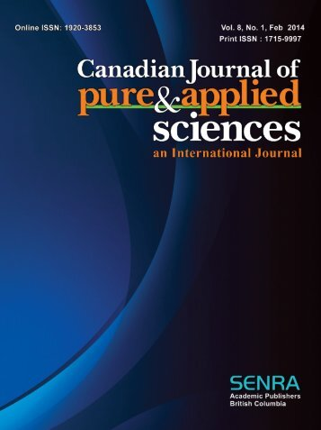 Canadian Journal of Pure and Applied Sciences