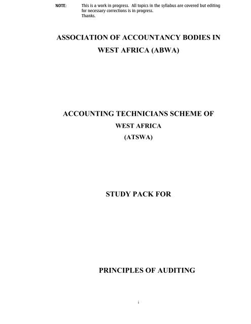 ATSWA Study Pack - Principles of Auditing - The Institute of