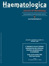 Journal of Hematology - Supplements - Haematologica