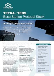 TETRA / TEDS Base Station Protocol Stack - Etherstack