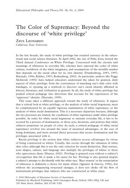 The Color of Supremacy: Beyond the discourse of 'white privilege'