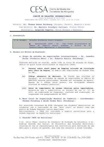 COMITÊ DE RELAÇÕES INTERNACIONAIS Relator: Dr ... - Cesa