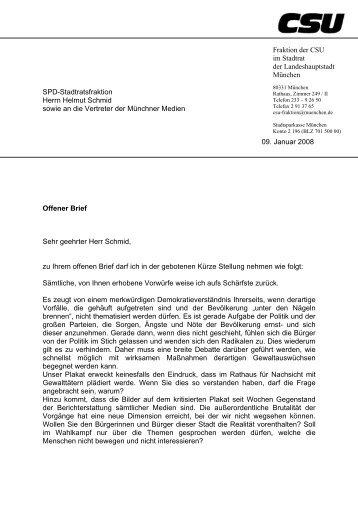 SPD-Stadtratsfraktion Herrn Helmut Schmid sowie an die Vertreter ...