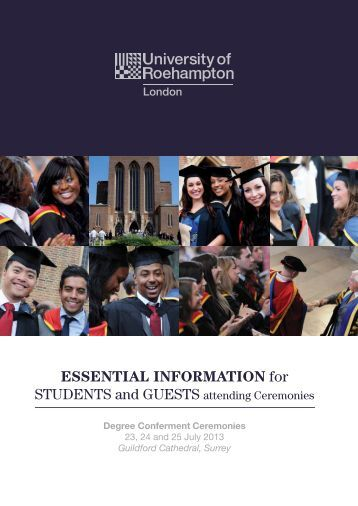 View your Graduation Information Booklet - University of Roehampton