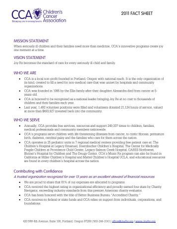 2011 FACT SHEET - Children's Cancer Association