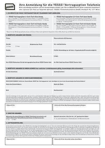 Ihre Anmeldung für die YESSS! Vertragsoption Telefonie