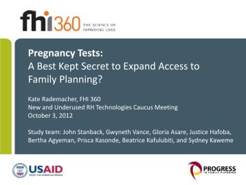 Pregnancy Testing - Reproductive Health Supplies Coalition