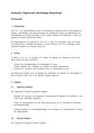 Pflichtenheft Trägerschaft - Lokalen Agenda 21 Kanton Solothurn