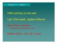 Quiz Friday in precept Midterm Exam – Oct. 22, in class