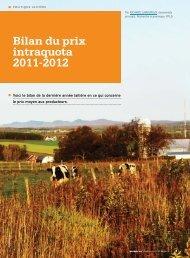 Bilan du prix intraquota 2011-2012 - Fédération des producteurs de ...