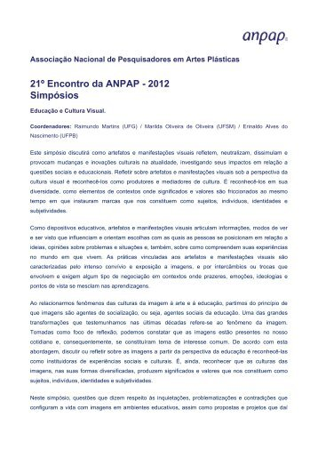 Educação e Cultura Visual. - anpap