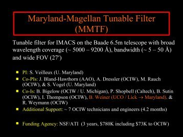 Maryland-Magellan Tunable Filter (MMTF) - MagellanTech