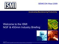Welcome to the ISMI NGF & 450mm Industry Briefing - Sematech