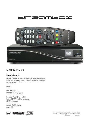 dreambox 800 hd se user manual
