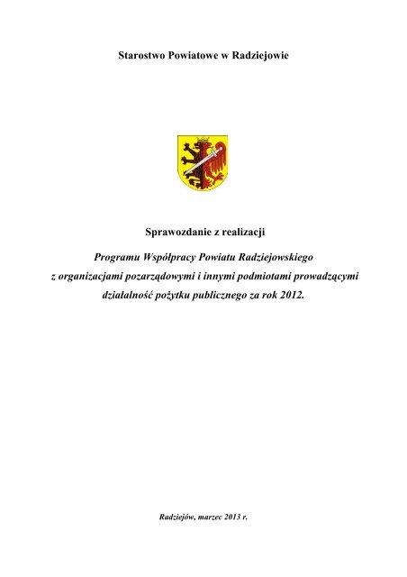 Starostwo Powiatowe w Radziejowie Sprawozdanie z realizacji ...