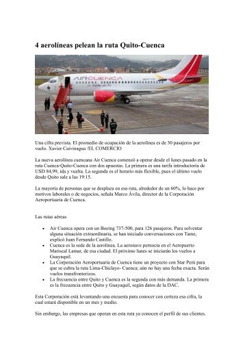 4 aerolíneas pelean la ruta Quito-Cuenca (El ... - AHK Ecuador