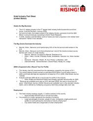 Hotel Industry Fact Sheet (United States) - Hotel Workers Rising