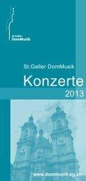Jahresprogramm 2013 - St. Galler DomMusik
