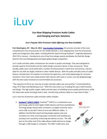 iLuv Now Shipping Premium Audio Cables and Charging and Sync ...