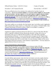 Official Election Notice—UOCAVA Voters County of Caroline ...