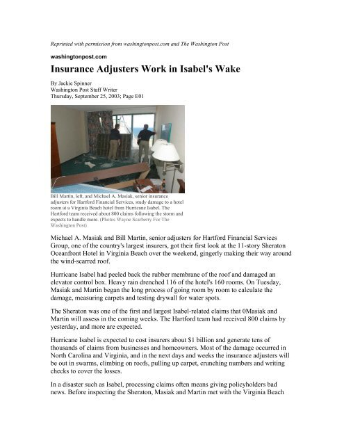 The Hartford At Work >> Insurance Adjusters Work In Isabel S Wake The Hartford
