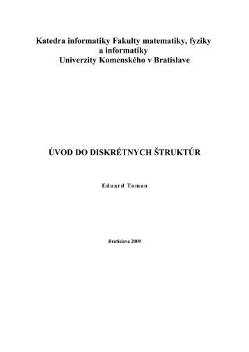 Úvod do diskrétnych štruktúr - Katedra informatiky