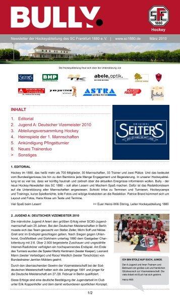 Bully Newsletter März 2010 - zum SC Frankfurt 1880
