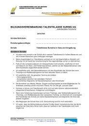 BILDUNGSVEREINBARUNG TALENTKLASSE SURSELVA - sgv-ilanz