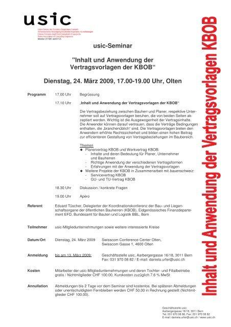 Einladung Seminar Vertragsvorlagen Kbob 2403 Bauenschweiz