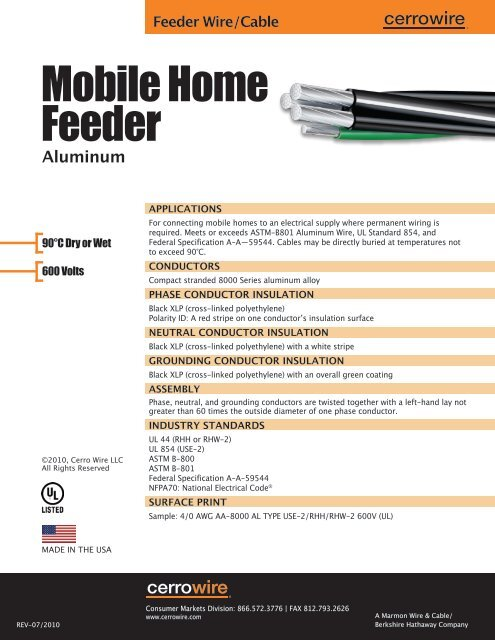 Mobile Home Feeder - Cerro Wire and Cable Company on