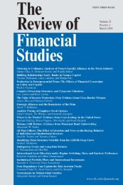 Front Matter (PDF) - Review of Financial Studies - Oxford Journals