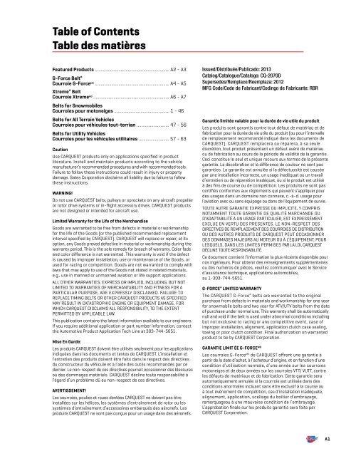 Belts for Snowmobiles Courroies pour motoneiges - CARQUEST ...