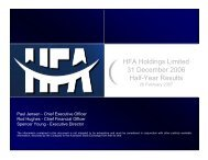 HFA Holdings Limited 31 December 2006 Half-Year Results