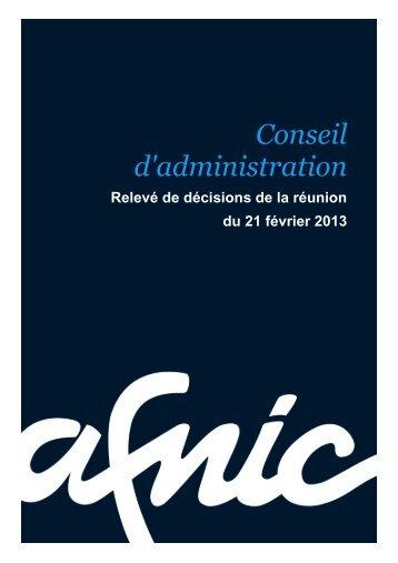 Conseil d'administration du 21/02/2013 - Afnic