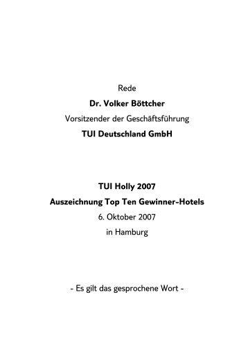 Rede Dr. Volker Böttcher Vorsitzender der ... - TUI Deutschland